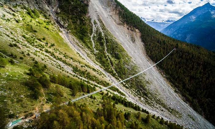 World's Longest Pedestrian Suspension - Charles Kuonen Suspension Bridge Switzerland